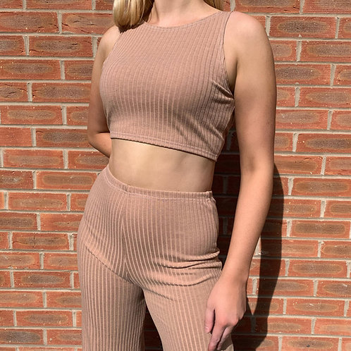 THATS SO.. CAMEL RIBBED TROUSER CO-ORD