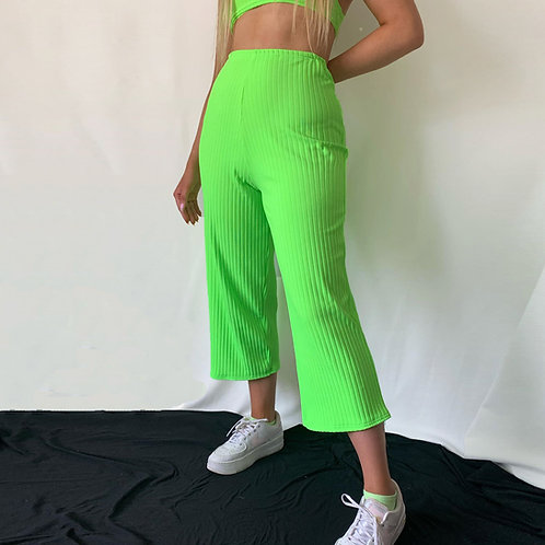 THATS SO.. NEON GREEN RIBBED TROUSERS