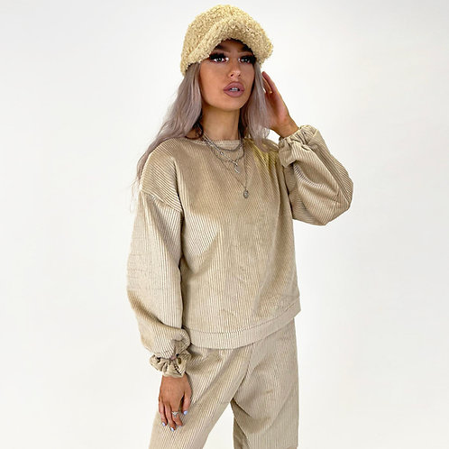 THATS SO.. THE BEIGE  COMFY CORDUROY JUMPER