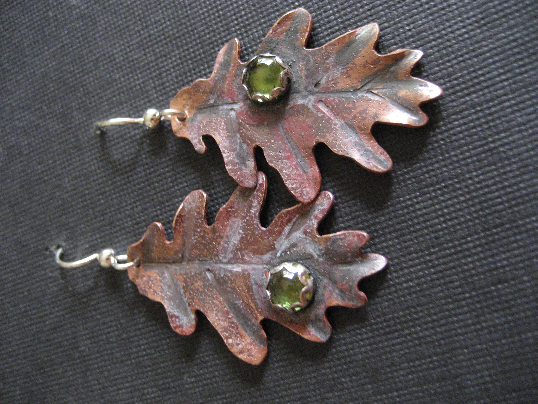 Copper & Peridot leaves earrings