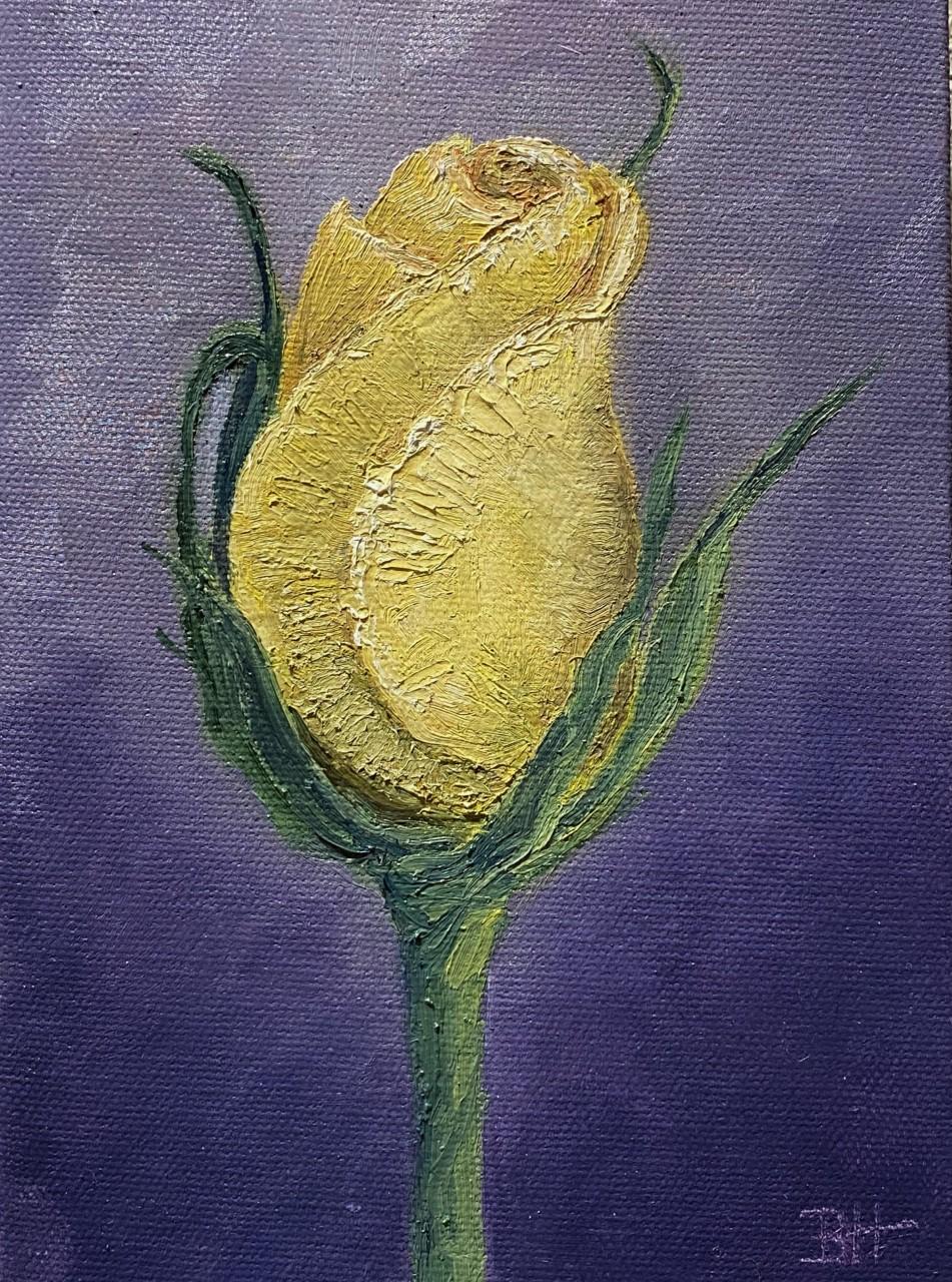 Yellow Rose, oil, 5x7-Bonnie Hautamaki