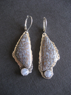 Dino & Blue Lace Earrings
