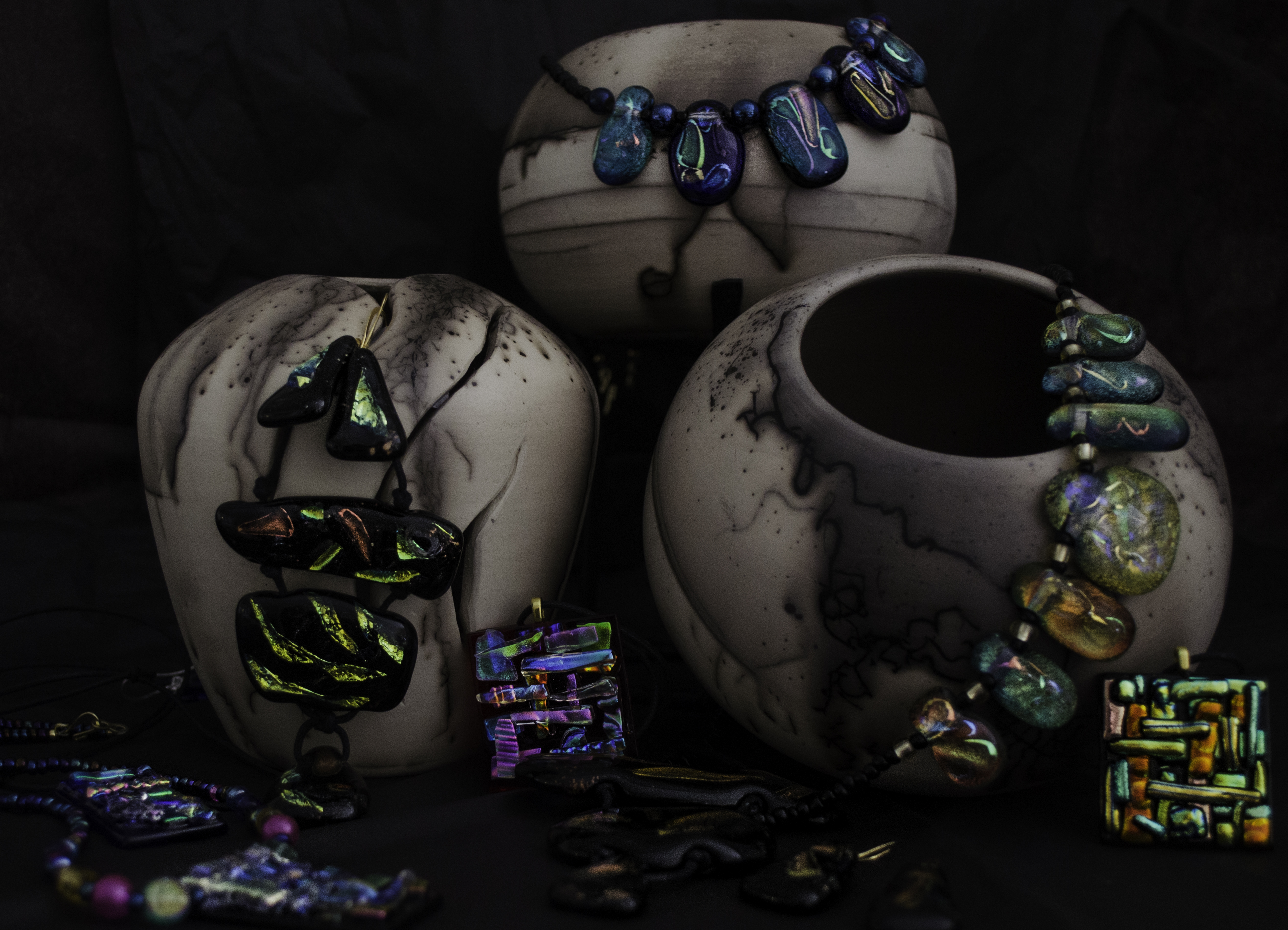 Horse Hair pottery & Glass jewelry