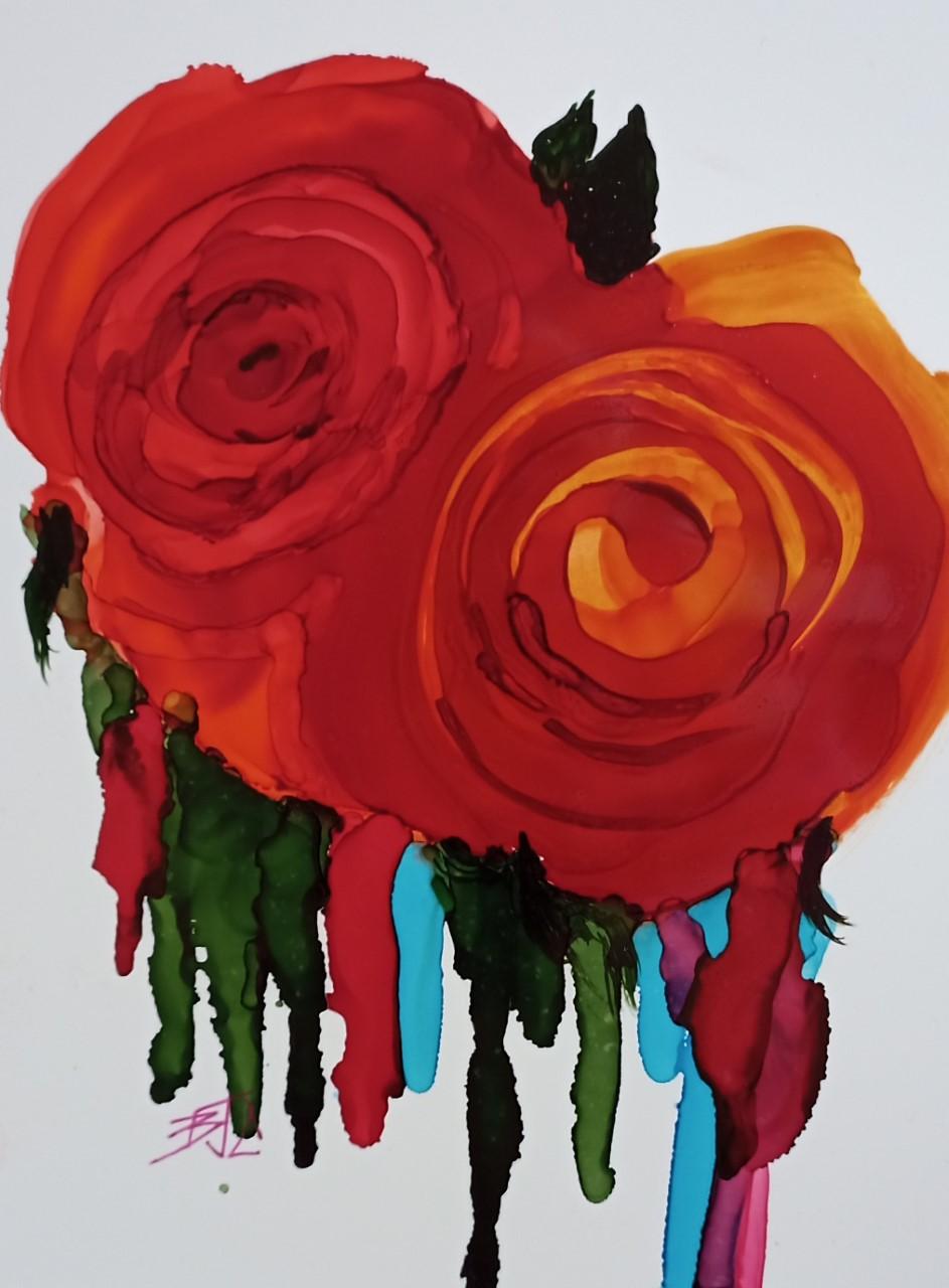 alchohol ink billie colson- rose duet-