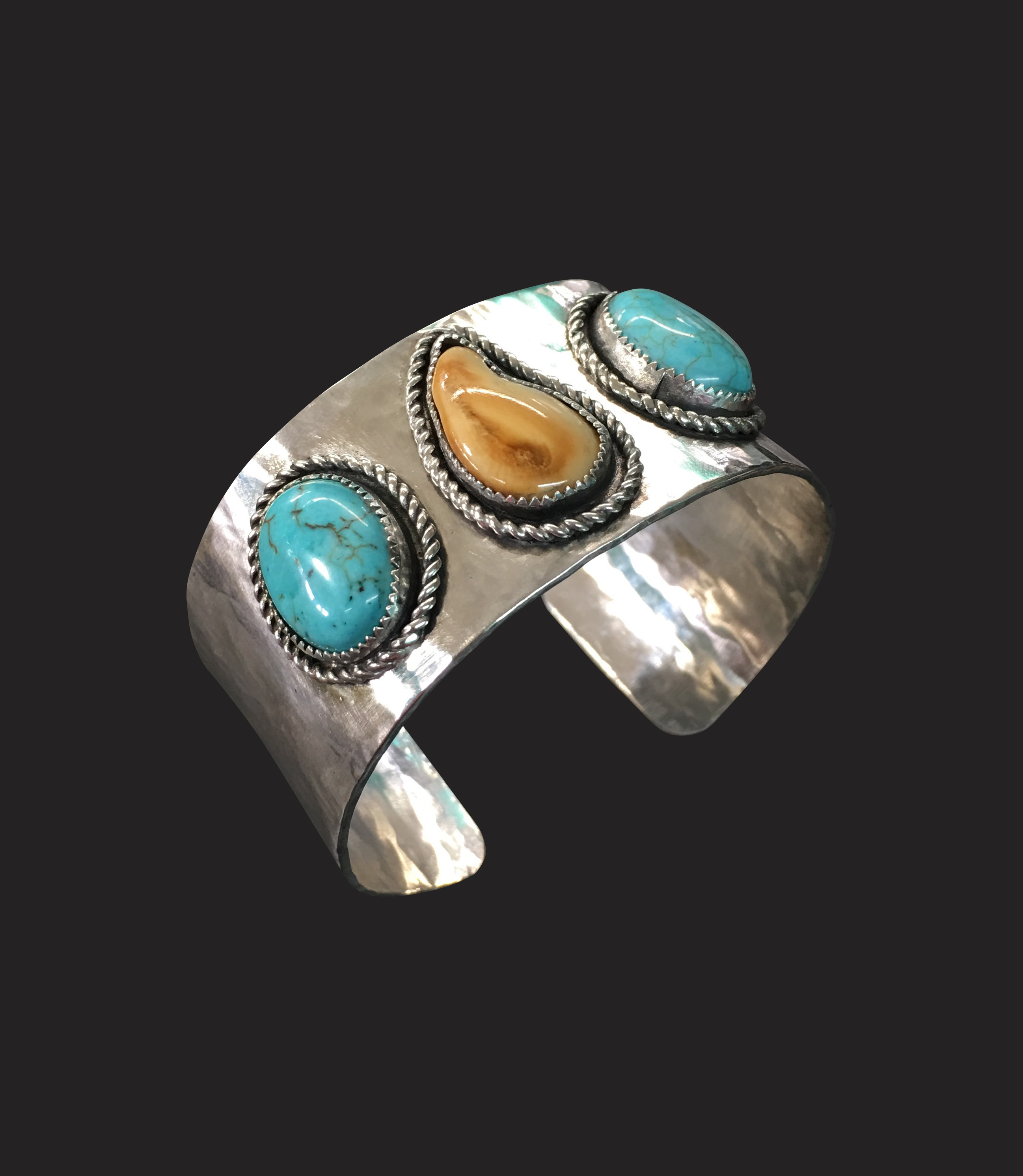 Elk Ivory and Turquoise Cuff.