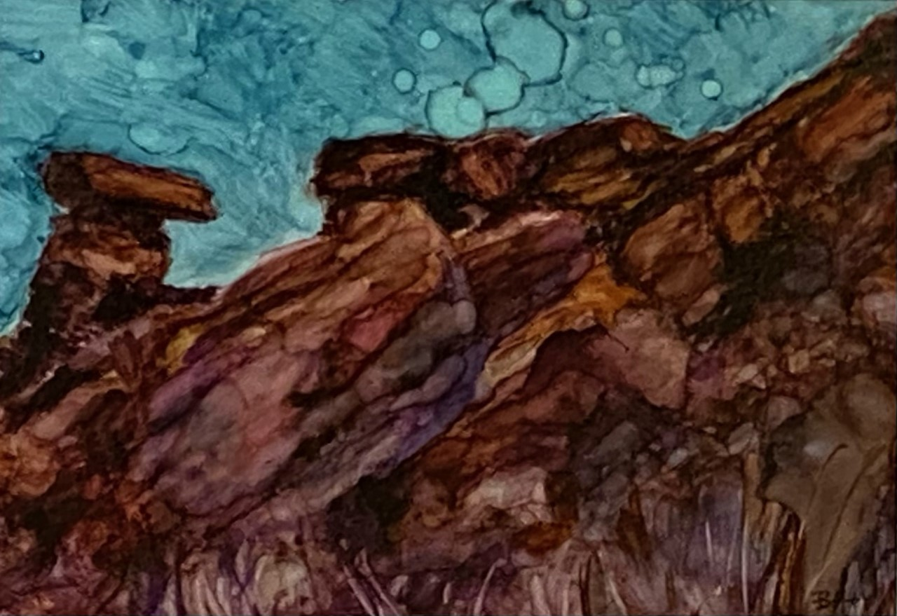 White Rim Trail (Utah), alcohol ink, 5x7