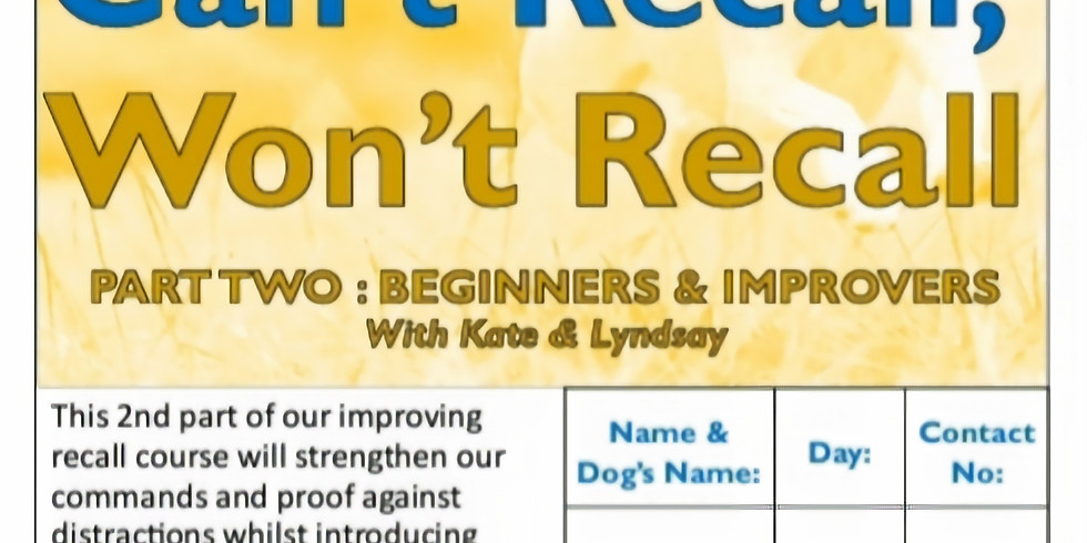 Can't Recall Won't Recall Course: Beginners and Improvers