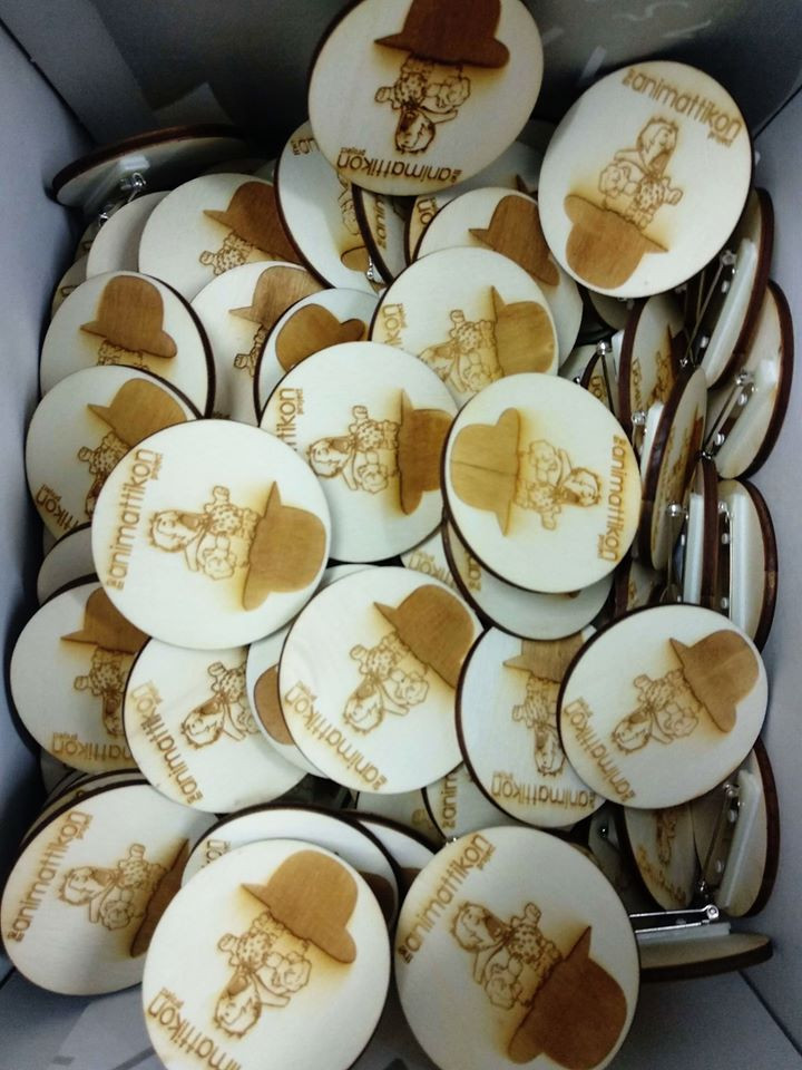 Our wooden badges, create by EnTyposis