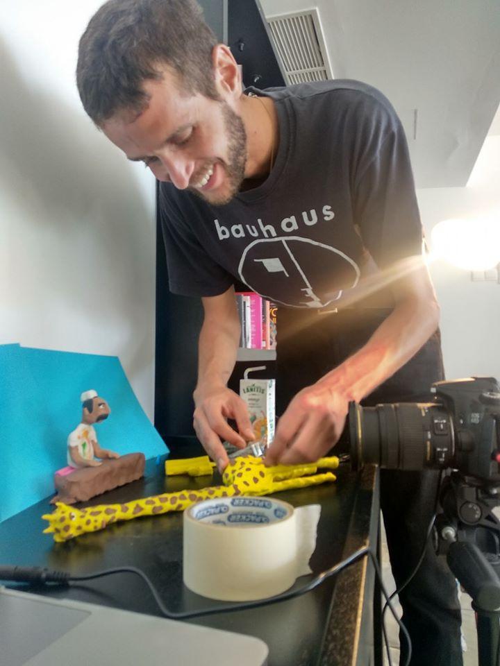 Thomas Kunstler enjoying himself at during his stop motion animation workshop at Almyra Hotel