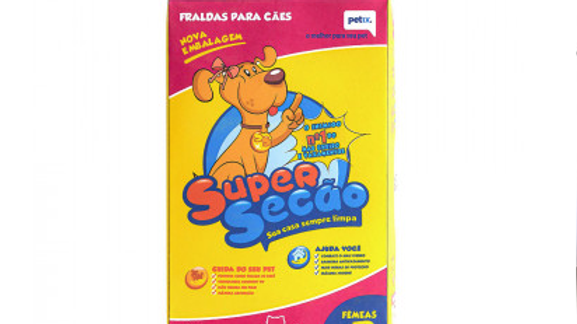 Fralda Descartável Super Secão para Cães Fêmeas Tamanho P - com 12 un.