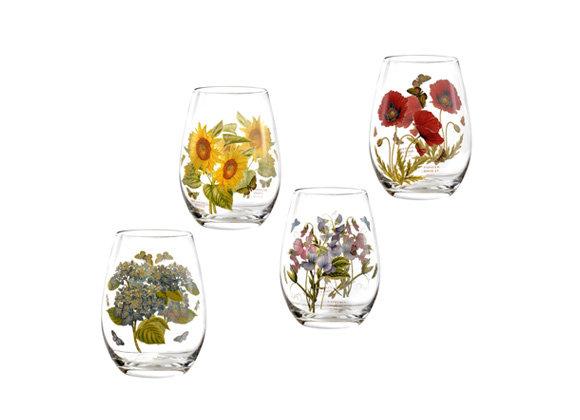 Portmeirion Botanic Garden Stemless Wine Glasses Set of 4 Assorted Motifs