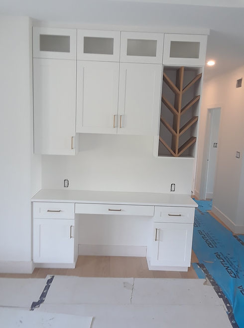 Painted Hutch Desk with shaker style doors and white oak wine rack.jpg