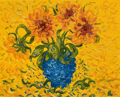 Sunflowers in a blue vase .jpg