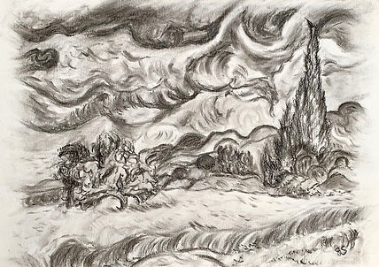 Wheatfield with Cypresses sketch.jpeg