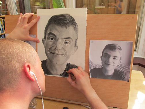 artist drawing a portrait