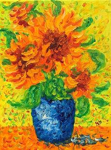 Sunflowers - 4 in a vase.JPG