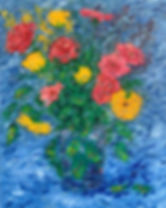 Roses and Gerberas - Blue Abstract (2).j