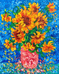 Sunflowers in a Pink Vase.jpg