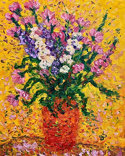 Flowers in an orange vase.JPG