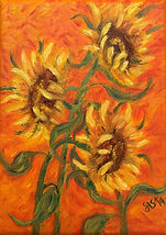 sunflowers on an orange background