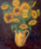 yellow vase of sunflowers
