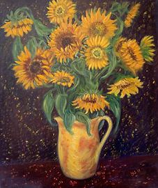 yellow vase of sunflowers