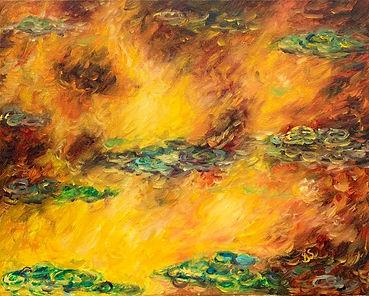 Water Lilies under a fiery sky.jpg