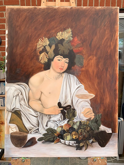Copy of Caravaggio's Bacchus in progress