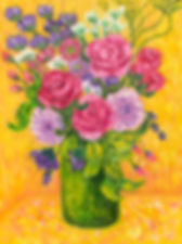 Roses and Gerberas on a Yellow Backgroun
