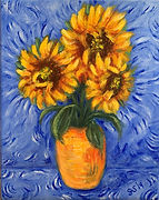 acrylic painting of a vase of sunflowers