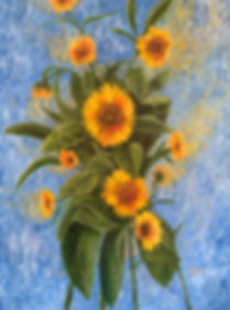 oil painting of sunflowers on a blue background