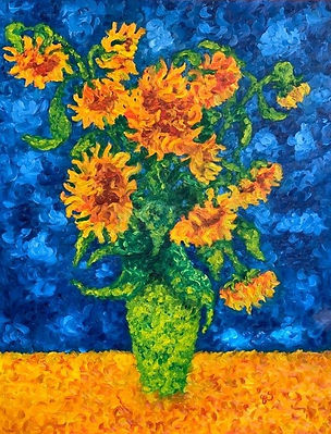 Sunflowers in a Green Vase .JPG