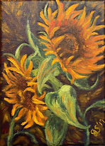 sunflowers on a violet background