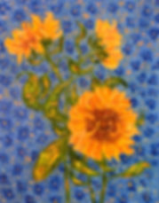 Sunflowers on a Blue Background (2).JPG