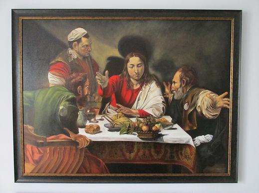 Framed copy of Caravaggio's Supper at Em