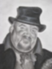 Fagin portrait in pencil and charcoal close up