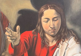 face of Jesus detail from oil reproducti