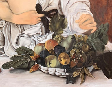 Fruit bowl detail from copy of Caravaggi