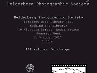 Presentation: Helderberg Photographic Society - 11 October 2017