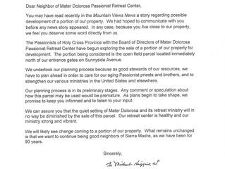 Mater Dolorosa Letter to Neighbors