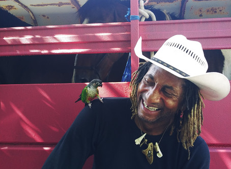 The man on the horse with a bird on his shoulder. Meet N Nashville,TN 4 the 1st time 4 the journey.