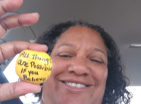 Oklahoma City Oklahoma a lady came up after witnessing me feed the homeless & gave a blessed rock.