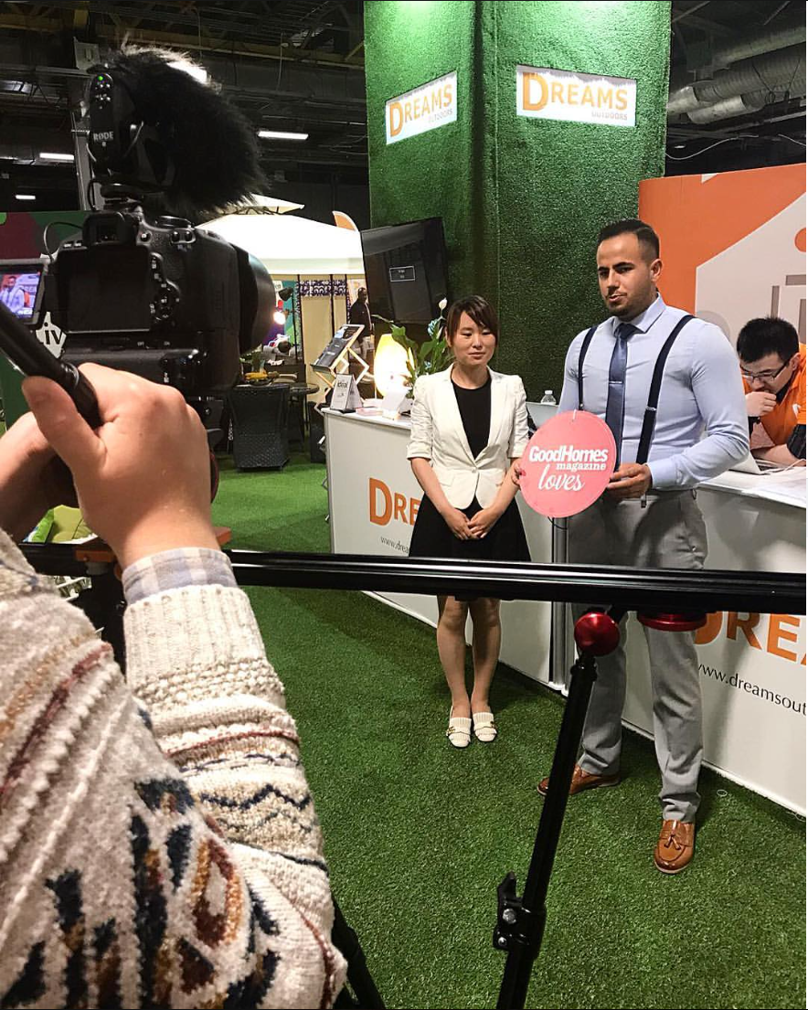 In Manchester, documenting the Dreams stand at the Ideal Home Show 2017.