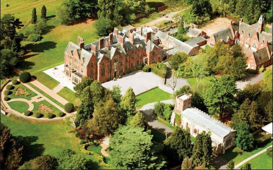 Aerial shot of Wroxall Abbey