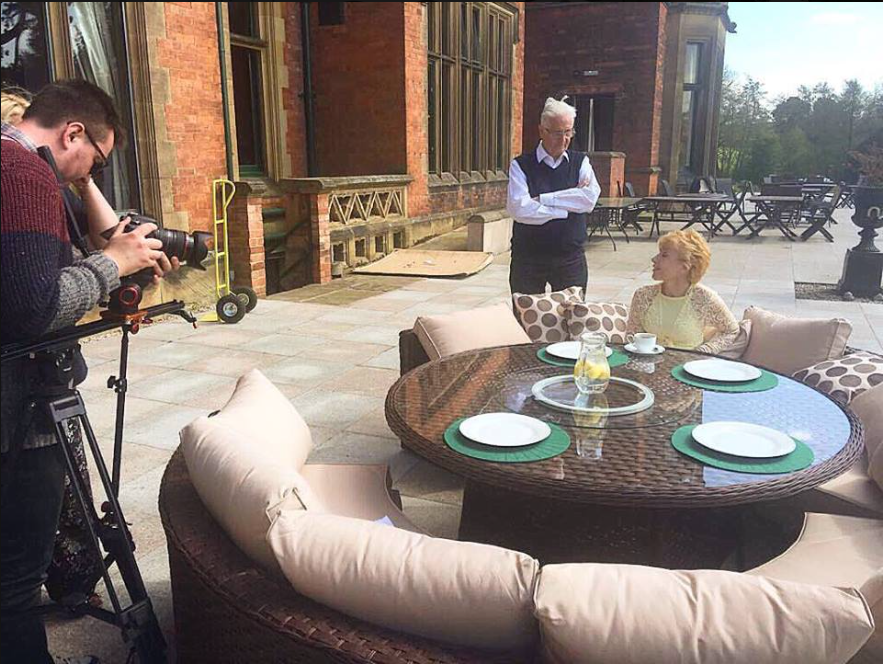 On set of the summer promo video at Wroxall Abbey.