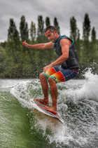 Chris wake surfing