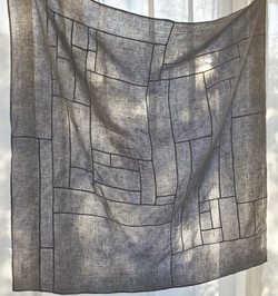 kakishibudyed linen patchwork