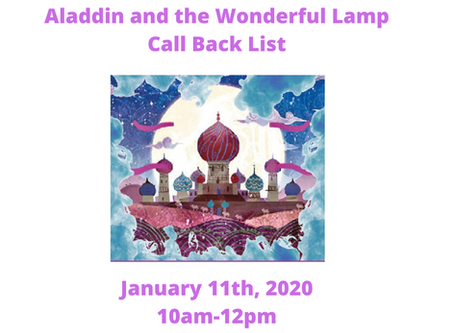 Aladdin and the Wonderful Lamp Callbacks