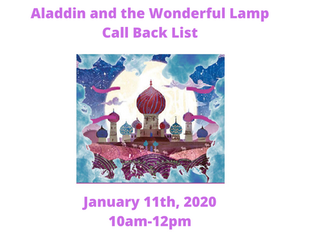 Aladdin and the Wonderful Lamp Callbacks