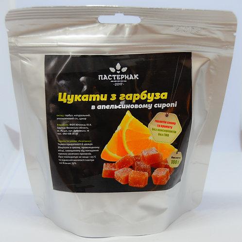 Цукати з гарбуза в апельсиновому сиропі (100 грам) - 1 упаковка (12 шт.)
